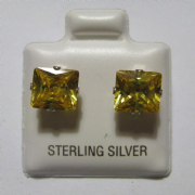 7mm Citrine Cubic Zirconia Sterling Silver Stud Earrings